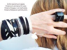 Sortija Ipanema en Ágata y pulseras en piel y tachuelas.