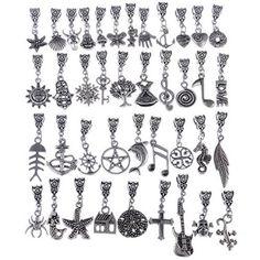 80 PCS Mix Tibetan Silver Connectors Bails Beads With Pendant fit Charm European Bracelet, Mix 102 By eArt