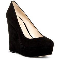 Nine West Voucher Wedge Pump (€46) ❤ liked on Polyvore featuring shoes, pumps, heels, black su, platform wedge shoes, black platform shoes, platform shoes, black pumps and nine west shoes