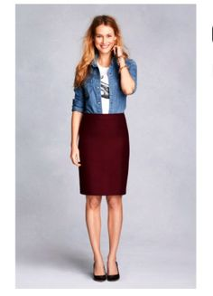 2f39fa5bfbf Crew size 12 Pencil at a discounted price at Poshmark. Description  J crew  wool pencil skirt. Burgundy and nwt.