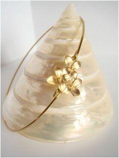 3 gold flowers bangle Gold flower bracelet Flower by Cecileis, $12.00