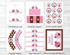 Pink Ladybug Birthday Party Package INSTANT by LittlePrintsParties