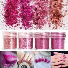 6adfe9cba4 Rose Red Shining Mixed Glitter Powder Sequins Nail Decoration Dust Mermaid  Effect Red Nails