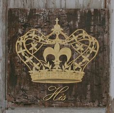 Crown painting on reclaimed rustic solid wood. www.gigibegin.com