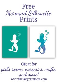 Mermaid Silhouette Free Printable Art – Top Of The World Mermaid Wall Art, Mermaid Nursery, Mermaid Room, Mermaid Crafts, Mermaid Diy, Baby Mermaid, Mermaid Silhouette, Silhouette Art, Mermaid Theme Birthday