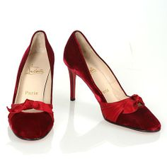 Christian Louboutin Garnet Velvet Round Toe Satin Bow Pumps
