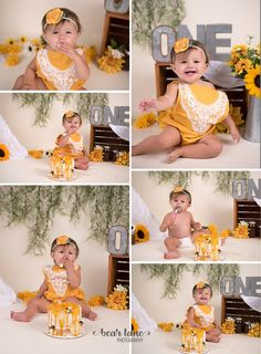 Rustic Honey Bee Baby Girl Cake Smash Yellow sunflower By Bear Lane Photography - Richmond, Chesterfield Midlothian Virginia Child and Baby Photographer Baby Cake Smash, 1st Birthday Cake Smash, Baby Girl Cakes, Baby Girl 1st Birthday, Baby Boy, Sunflower Birthday Parties, Birthday Girl Pictures, Birthday Ideas, 1st Birthday Photoshoot