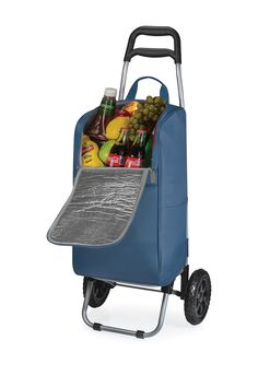 Picnic Time Navy Cart Cooler Trolley
