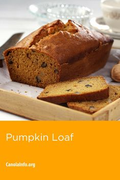 Enjoy the flavors of fall with this easy to make pumpkin loaf. Pumpkin Loaf, Baked Pumpkin, Pumpkin Recipes, Baking Recipes, Dessert Recipes, Desserts, Canola Oil, Test Kitchen, Baking Soda