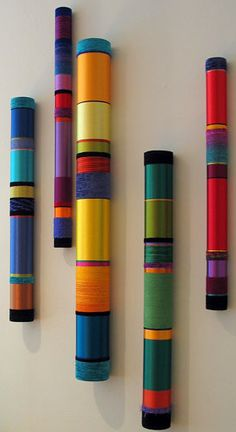 Myra Burg (pool noodles and paper mache Bamboo Art, Bamboo Crafts, Painted Bamboo, Painted Wood, Home Crafts, Diy And Crafts, Arts And Crafts, Diy Wall Art, Diy Art
