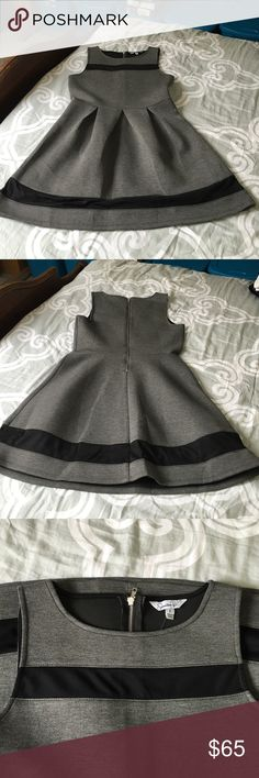 NWOT Gorgeous Dress Speeceless NWOT Gorgeous GREY and Black Dress. Material is a really cool thick type poly/rayon with a back zip and mesh at top and bottom. Length from shoulder to hem 35 inches. Bust with stretch 34, waist 30 with stretch to 33. Pleats in skirt area. Classic dress up down Speechless Dresses Mini