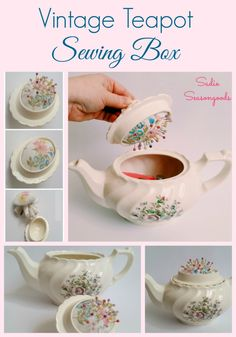 How to Make a DIY Pincushion and Sewing Caddy in a Vintage Teapot Thrifted Vintage Teapot Sewing Box and Hidden Pincushion by Sadie Seasongoods Fabric Crafts, Sewing Crafts, Sewing Projects, Diy Crafts, Diy Projects, Sewing Caddy, Sewing Box, Sewing Kits, Sewing Patterns