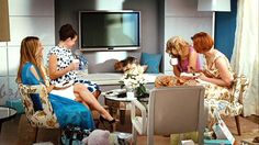 Carrie, Charlotte, Samantha and Miranda gather in Carrie's new living room area in her fabulously redesigned apartment in the Sex and the City movie.  The furniture configuration is perfect for gabfests with your best girls :)