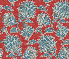 Americana Floral fabric by willowlanetextiles on Spoonflower - custom fabric