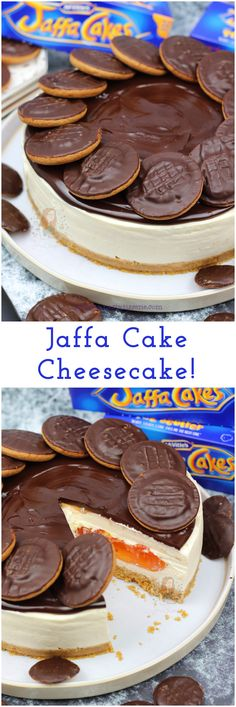 A Delicious No-Bake Jaffa Cake Cheesecake with a Buttery Biscuit Base, Orange Cheesecake, and Hidden Orange Jelly Layer, with Chocolate Ganache! Cheesecake Recipes, Dessert Recipes, No Bake Cheesecake, Pudding Recipes, Easy Desserts, Cookie Recipes, Janes Patisserie, Jaffa Cake, Buttery Biscuits