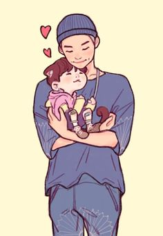 NamGi fanart Yoongi Namjoon's baby~ Credits to Yoonmin Fanart, Jikook, K Pop, Bts Scenarios, Bts Playlist, Bts Drawings, Bts Chibi, This Is Love, Bts Fans