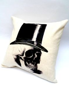Quirky Skull in Top Hat Pillow, Halloween Home Decor, Black and Cream, Envelope Back, 14X14, Shabby Chic Slip Cover