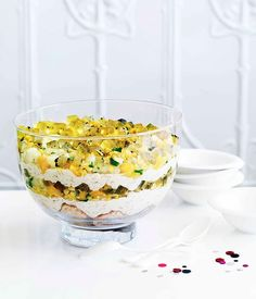 Adriano Zumbo: Rice pudding trifle with saffron jelly and mango and mint salsa - Gourmet Traveller