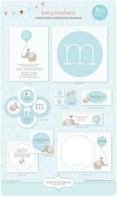 Style Me Gorgeous: {Printable Party Decor} Baby Elephant