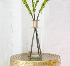 Gold Inlaid Tall Stem Vase