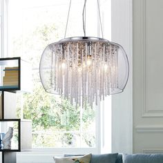 Warehouse of Tiffany 'Odysseus' Chrome and Crystal 5-light Chandelier (Odysseus Chrome Chandelier), Silver