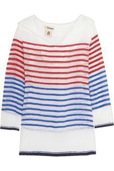 Loving this striped red, white, and blue tunic as a coverup or top! #lemlem