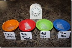 Ice Experiment- this might be an easy one to demonstrate scientific method