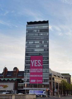 'Vote Yes' banner unveiled at Dublin building Liberty Hall