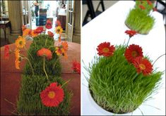 Artificial Grass and flowers in pots or arranged along table for center peice.