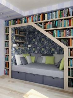 Trying to find different ideas for a sitting space in my room, I like this idea, but don't think I'd be able to work it around my other furnishings. I still like the fact that it's tucked into the wall - makes for a nice little hideaway!