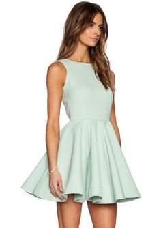 Sleeveless V Back Flare Dress