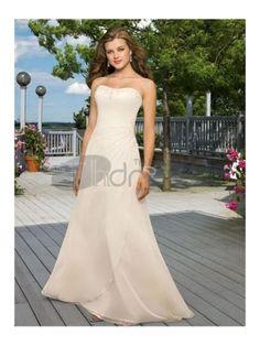 Abiti da Sposa Spiaggia-Una linea di abiti da sposa spiaggia senza spalline in chiffon