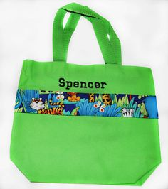 Animal Tote Bag with Monogram Name Embroidered on it, Personalized Bag, Swin Bag, Daycare Bag, Toy Bag, Diaper Bag