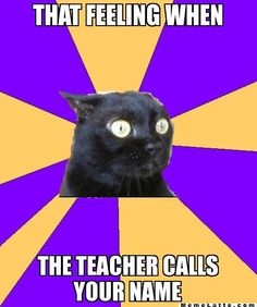 That feeling when the teacher calls your name - Anxiety Cat