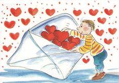 An envelope full of hearts just for you! Smileys, Art Fantaisiste, Love Cartoon Couple, Gif Animé, Valentine Day Love, Heart Art, Whimsical Art, Mail Art, Cute Illustration