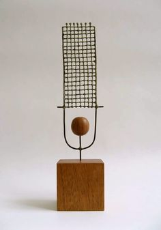 Jay Kelly Untitled 156 2008 Metal, Wood. 6.5 x 2.25 x .75 inches Wood base 2 x 2 x 1.75 inches