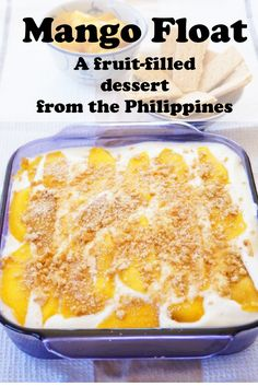 Float Mango float is a delicious recipe from the Philippines, made with fresh mangoes, whipped cream & graham crackers.Mango float is a delicious recipe from the Philippines, made with fresh mangoes, whipped cream & graham crackers. Mango Desserts, Philipinische Desserts, Mango Recipes, Asian Desserts, Salad Recipes, Juicer Recipes, Detox Recipes, Sweet Desserts, Mango Float Filipino