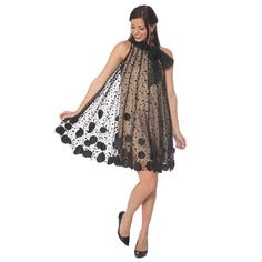 Halter Dress With Circle Overlay Pattern and Tie