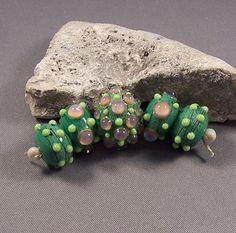 Handmade Lampwork Beads by Monaslampwork  Green by MonasLampwork (Craft Supplies & Tools, Jewelry & Beading Supplies, Beads, bead set, focal, handmade, supplies, monaslampwork, artisan beads, lampwork beads, lampwork bead, jewelry supply, beading supply, clearance, sale, lamp work bead)