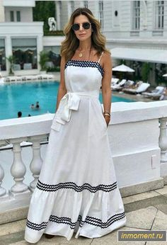 Beautiful long white homecoming dress in 2020 Trendy Dresses, Nice Dresses, Casual Dresses, Casual Outfits, Summer Dresses, Mode Outfits, Dress Outfits, Fashion Dresses, White Homecoming Dresses