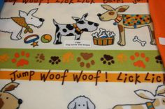 Dog Fleece Fabric Anti Pill Fleece Fabric WOOF Dog blanket dog paw prints low price fleece fabric free shipping available - SHIPS FAST F558 by FabricPremier on Etsy