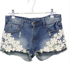 81e01c118d37 Hip Crochet Lace Ripped Light Blue Mid Waist Shorts