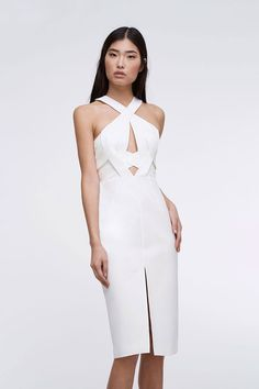The Seine Midi Dress features sophisticated cut-outs and a classy silhouette for your next summer party. White Romper Dress, Fitted Midi Dress, Black Bridesmaid Dresses, Backless Prom Dresses, Evening Dresses Online, Evening Gowns, Girls Formal Dresses, Short Dresses, Dance Dresses