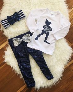 "Peter Pan ""Never Grow Up"" Navy Sequin Pant Set. 