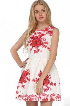 White Sleeveless Vintage Floral Slim Dress EUR€18.10