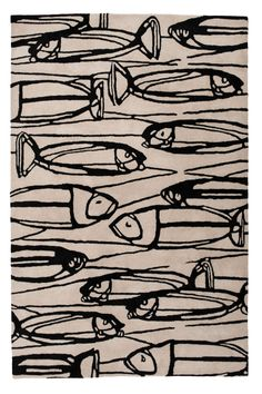 Heal's Heal's Discovers Fishes Black And Cream Rug By Maria Hatling - Rugs - Rugs - Living Room Fish Illustration, Pattern Illustration, Surface Pattern Design, Pattern Art, Pattern Fabric, Fabric Design, Fish Patterns, Print Patterns, Textile Prints