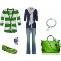 Casual lime green and navy blue