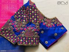 Gorgeous blue color designer blouse with floret lata design hand embroidery bead and trhead work. Blouse Back Neck Designs, Cutwork Blouse Designs, Hand Work Blouse Design, Kids Blouse Designs, Wedding Saree Blouse Designs, Stylish Blouse Design, Wedding Sarees, Designer Blouse Patterns, Saree Dress