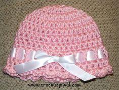 Crochet Baby Ribbon Hat (0-3 months), http://crochetjewel.com/?p=13801