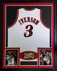 This is a custom jersey and was not manufactured by or in any manner associated with any professional sports league or manufacturer. This custom jersey carries no professional sports league designation. Nba, Sports Frames, Framed Jersey, Allen Iverson, White Jersey, Fan Gear, Philadelphia, Man Cave, Basketball